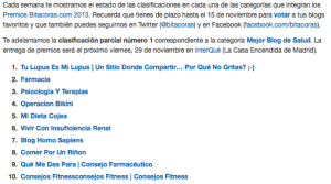 Clasificación parcial I Bitácoras13
